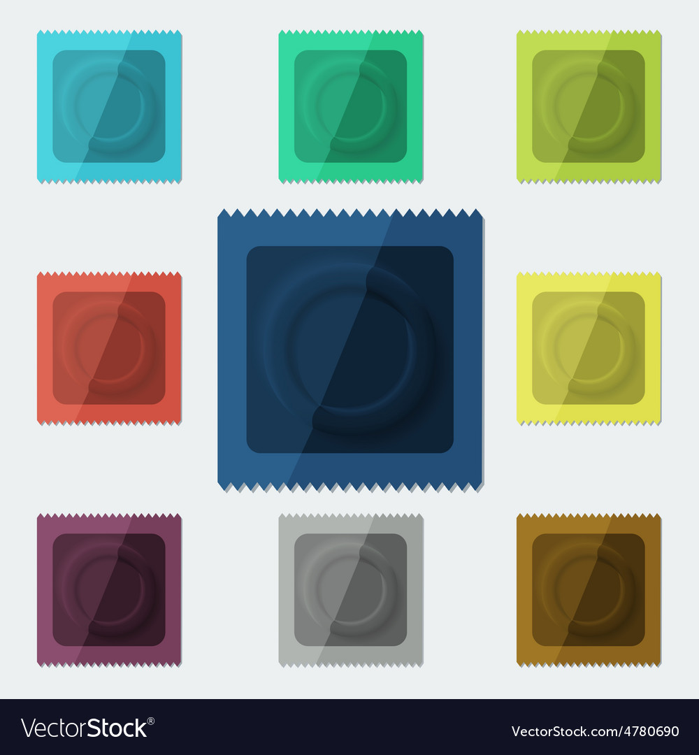 Set of semi-realistic condoms in different color vector | Price: 1 Credit (USD $1)