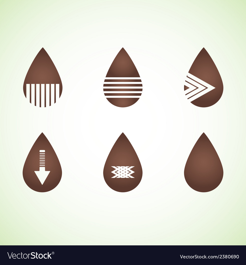 Six brown abstract drops eps10 vector | Price: 1 Credit (USD $1)