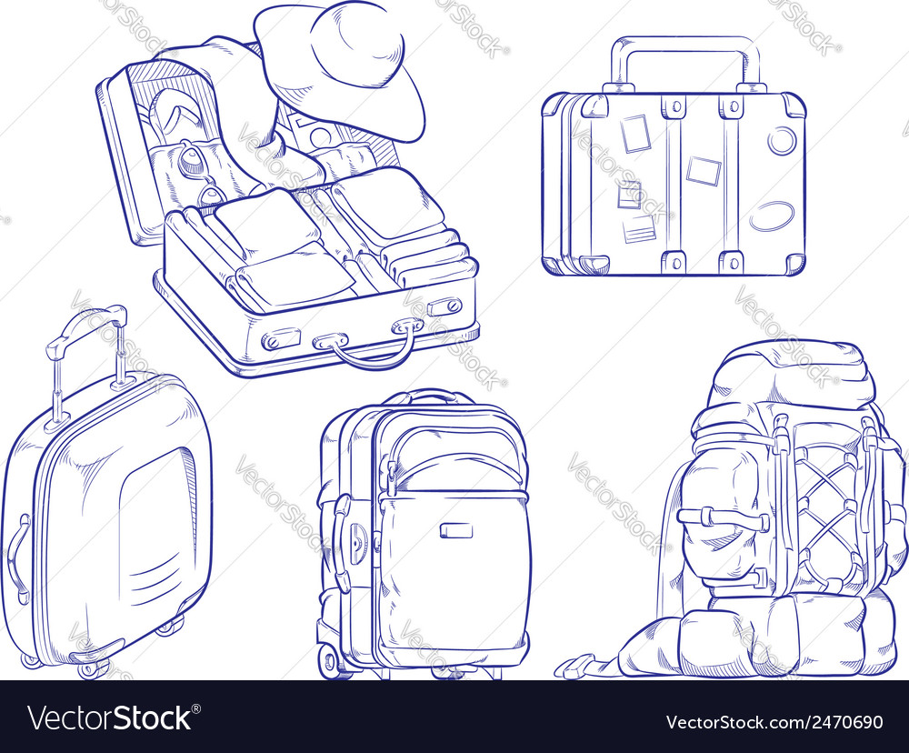 Sketch of travel suitcase and bag vector | Price: 1 Credit (USD $1)