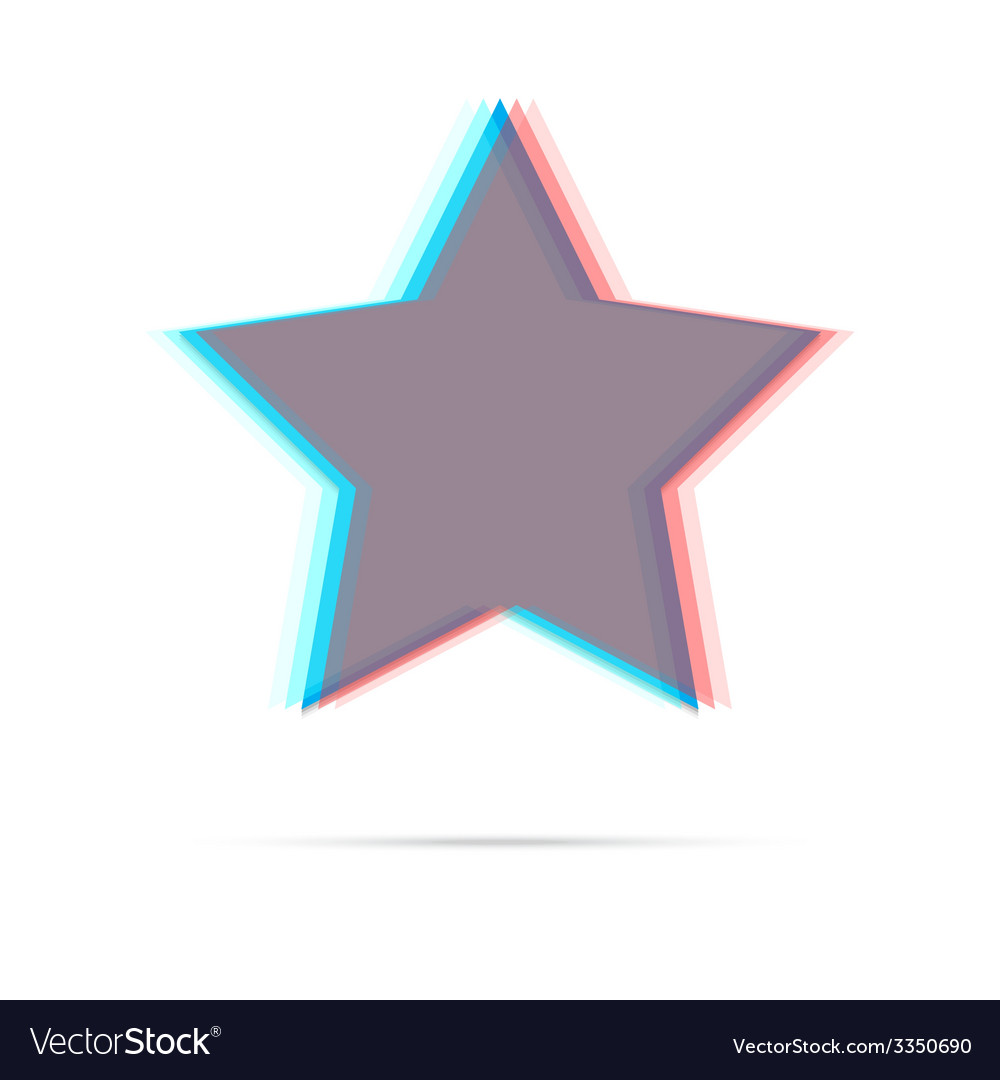 Star anagliph flat icon vector | Price: 1 Credit (USD $1)