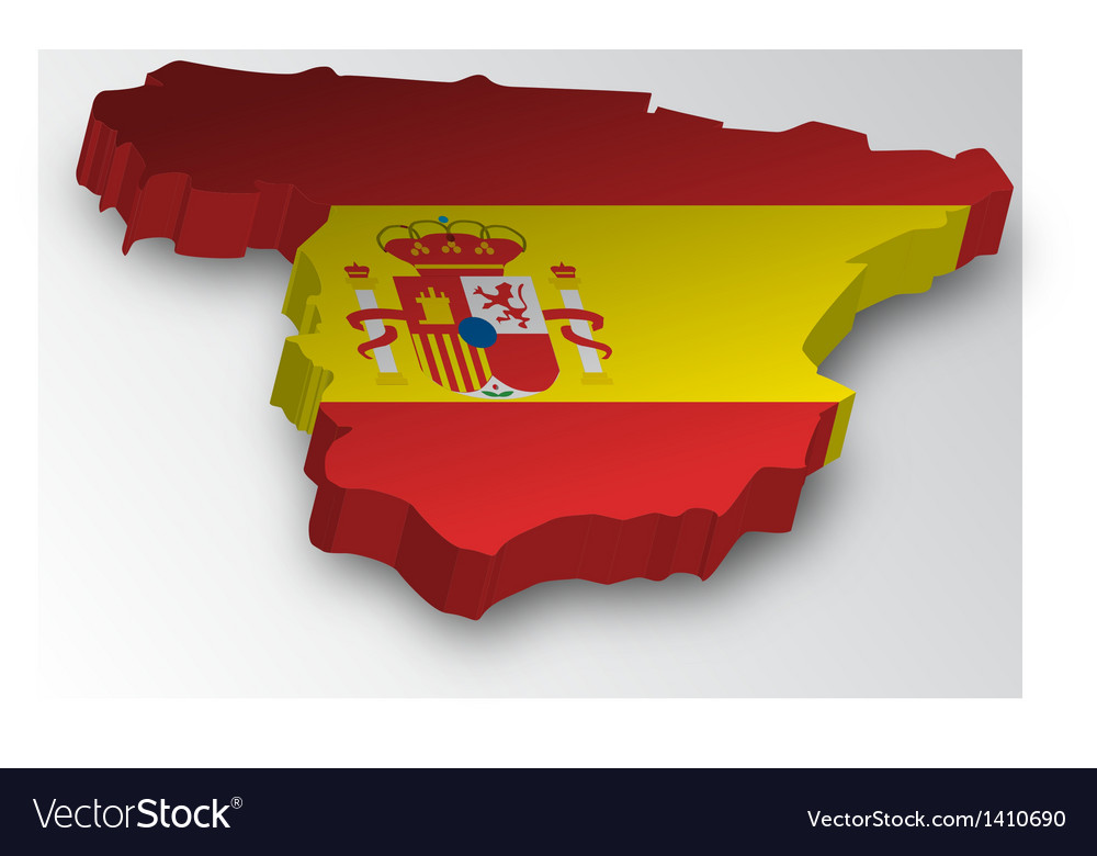 Three dimensional map of spain in flag colors vector | Price: 1 Credit (USD $1)
