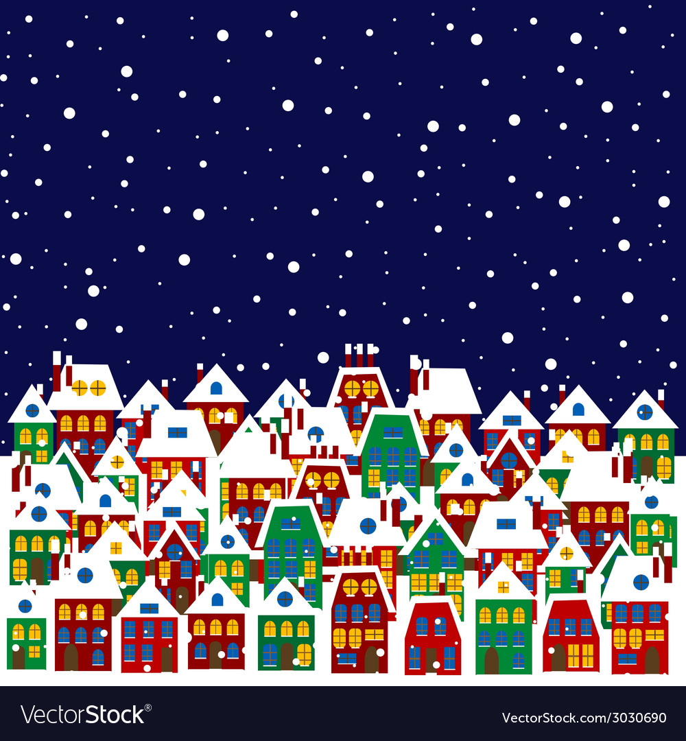 Village in winter vector | Price: 1 Credit (USD $1)