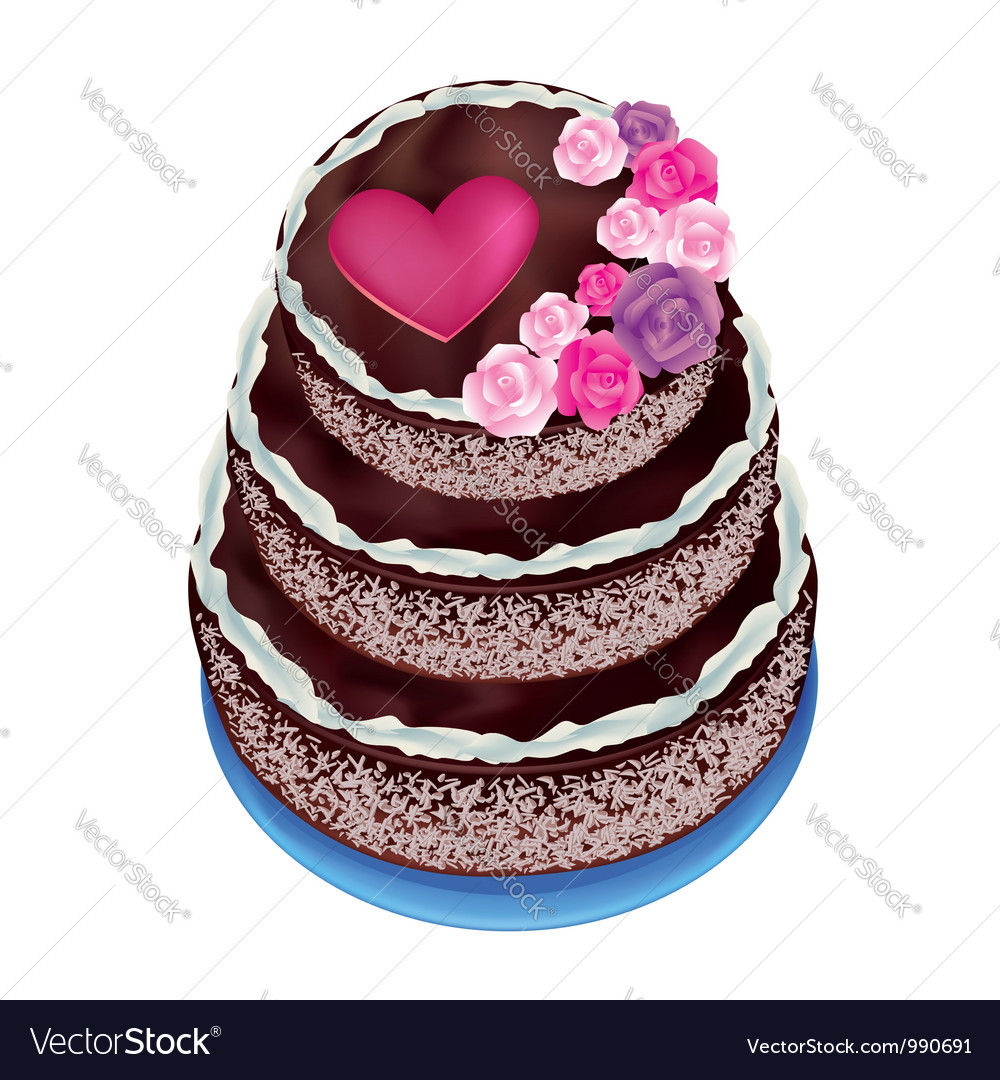 Celebratory cake decorated roses and heart vector   Price: 1 Credit (USD $1)