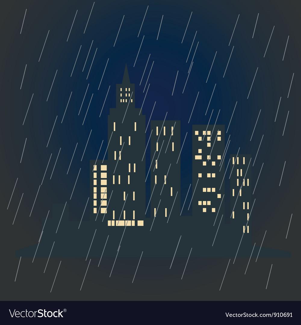 City in rain vector | Price: 1 Credit (USD $1)