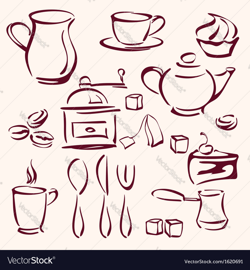 Collection of tea coffee and cakes silhouettes vector | Price: 1 Credit (USD $1)