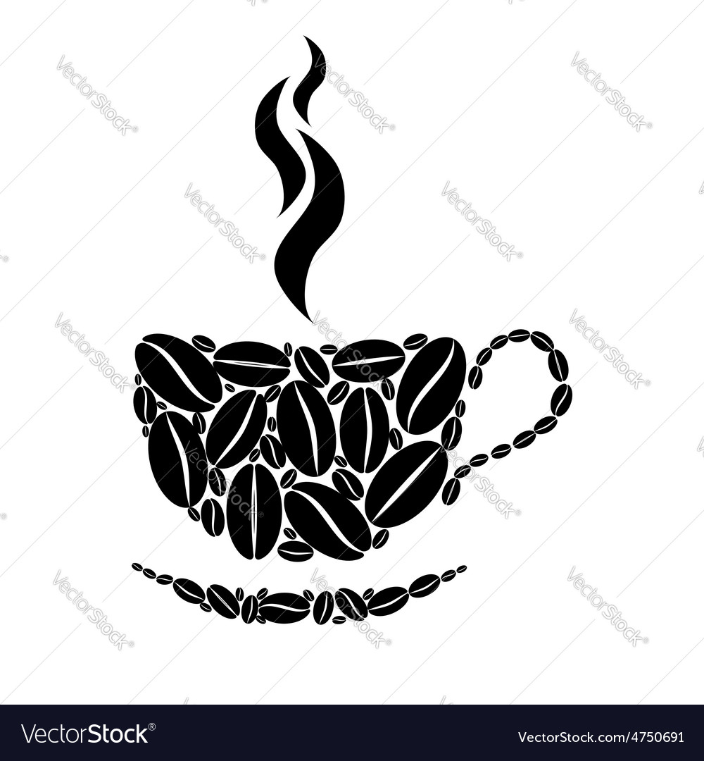 Cup of coffee black and white concept vector | Price: 1 Credit (USD $1)