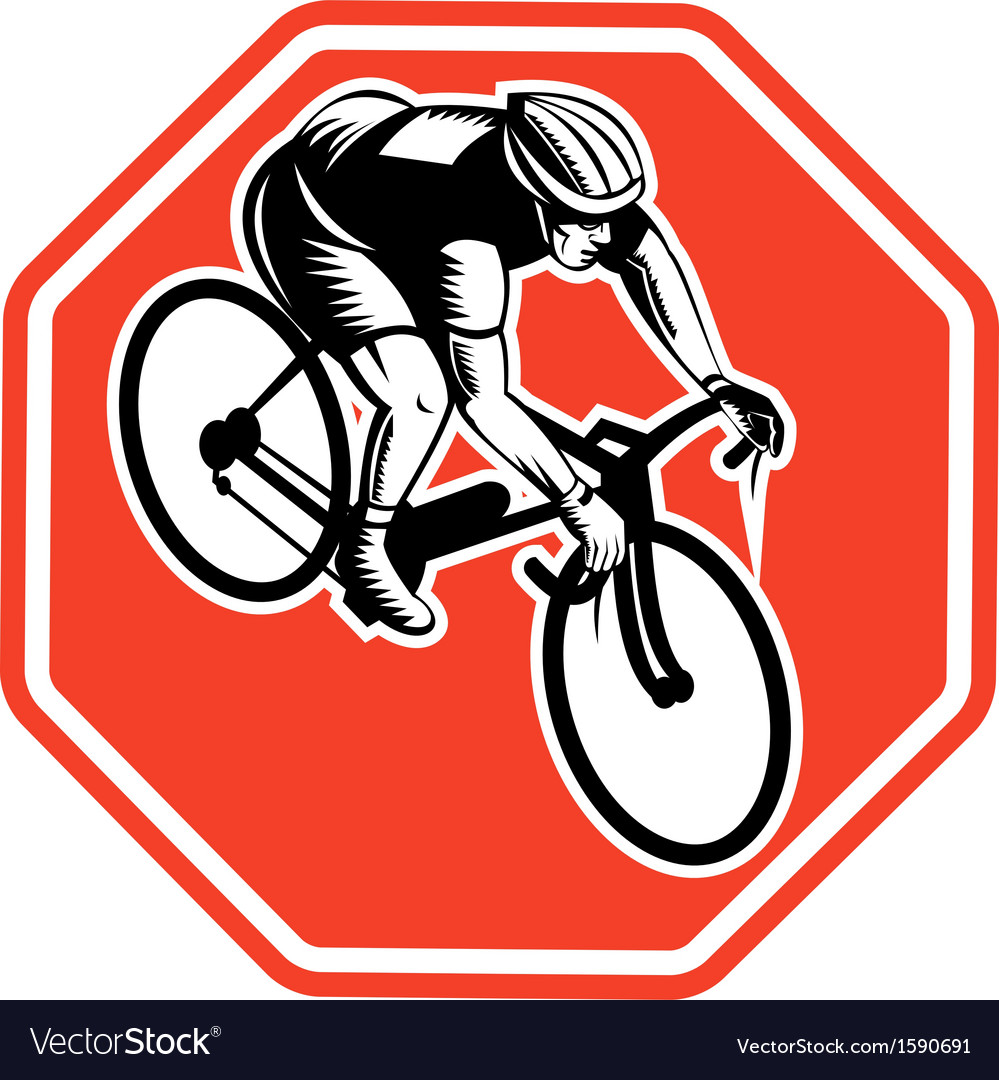 Cyclist racing bike set inside octagon vector | Price: 1 Credit (USD $1)
