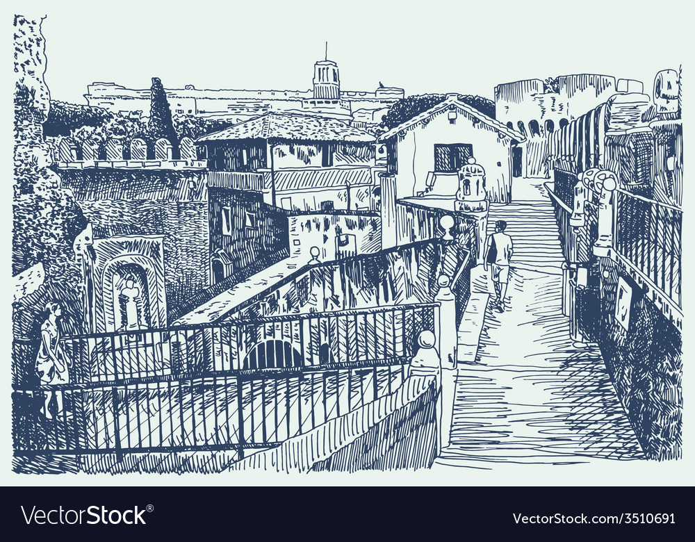 Drawing of italy cityscape - rome vector | Price: 5 Credit (USD $5)