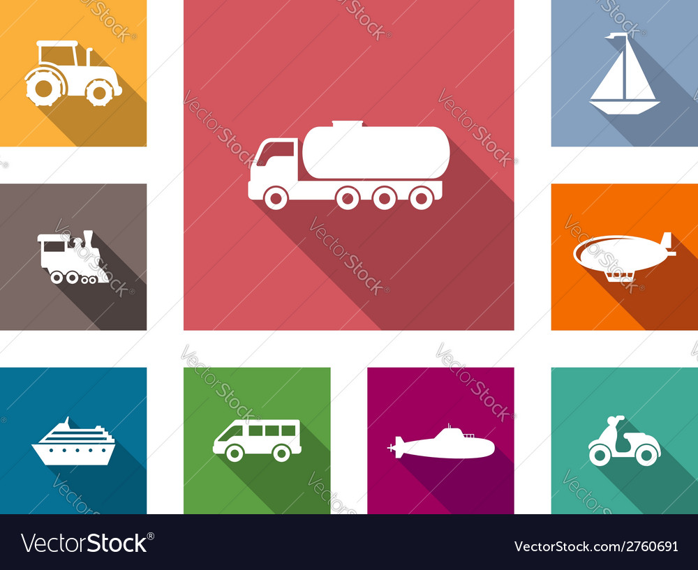 Flat transportation icons set vector | Price: 1 Credit (USD $1)