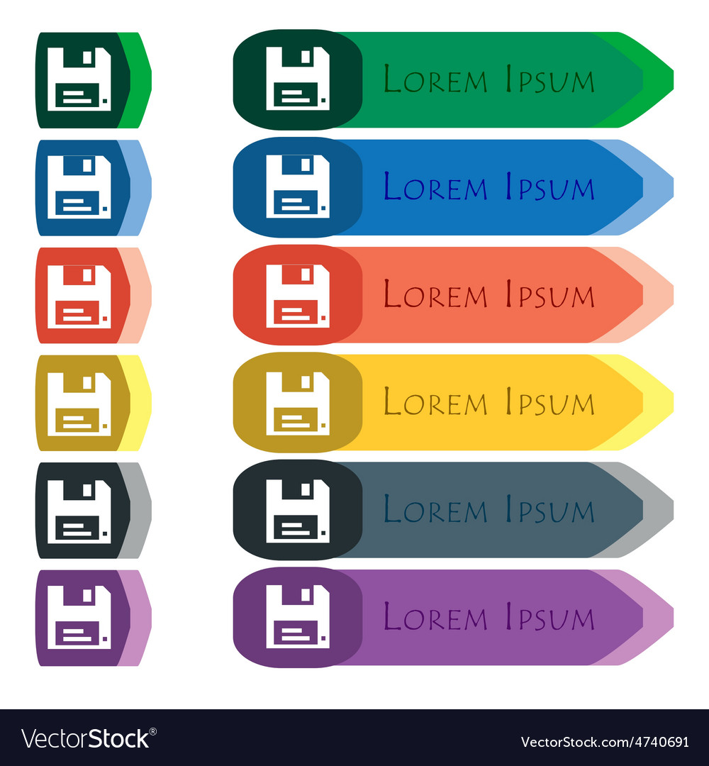 Floppy icon sign set of colorful bright long vector | Price: 1 Credit (USD $1)