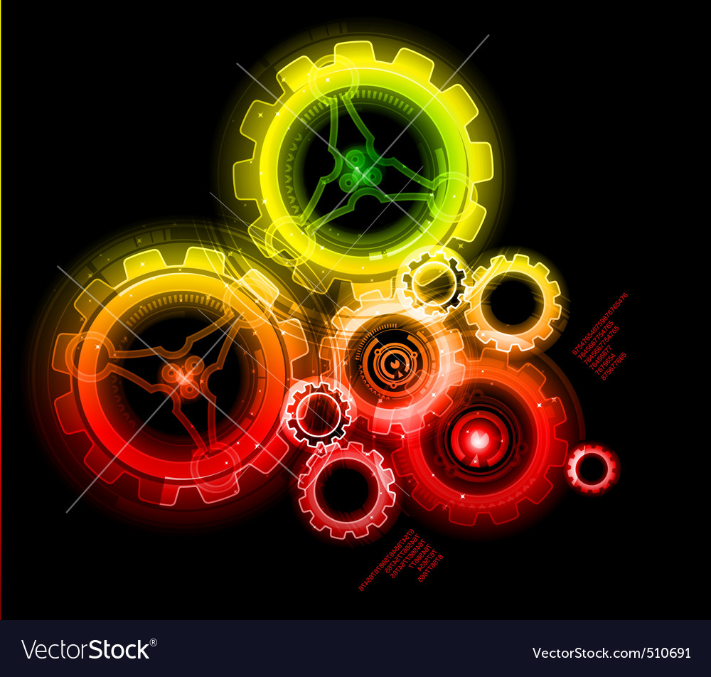 Glowing techno gears vector   Price: 3 Credit (USD $3)