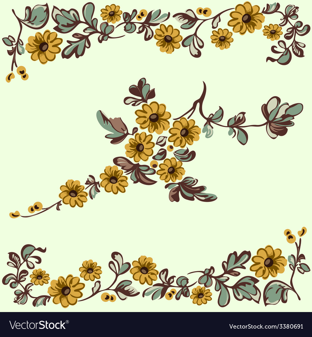 Pattern floral yellow flower vector | Price: 1 Credit (USD $1)