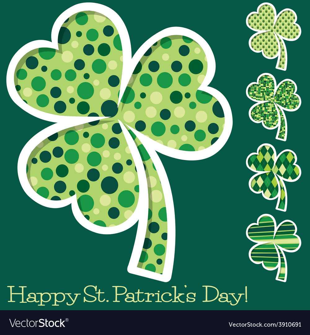 Retro st patricks day shamrocks in format vector | Price: 1 Credit (USD $1)