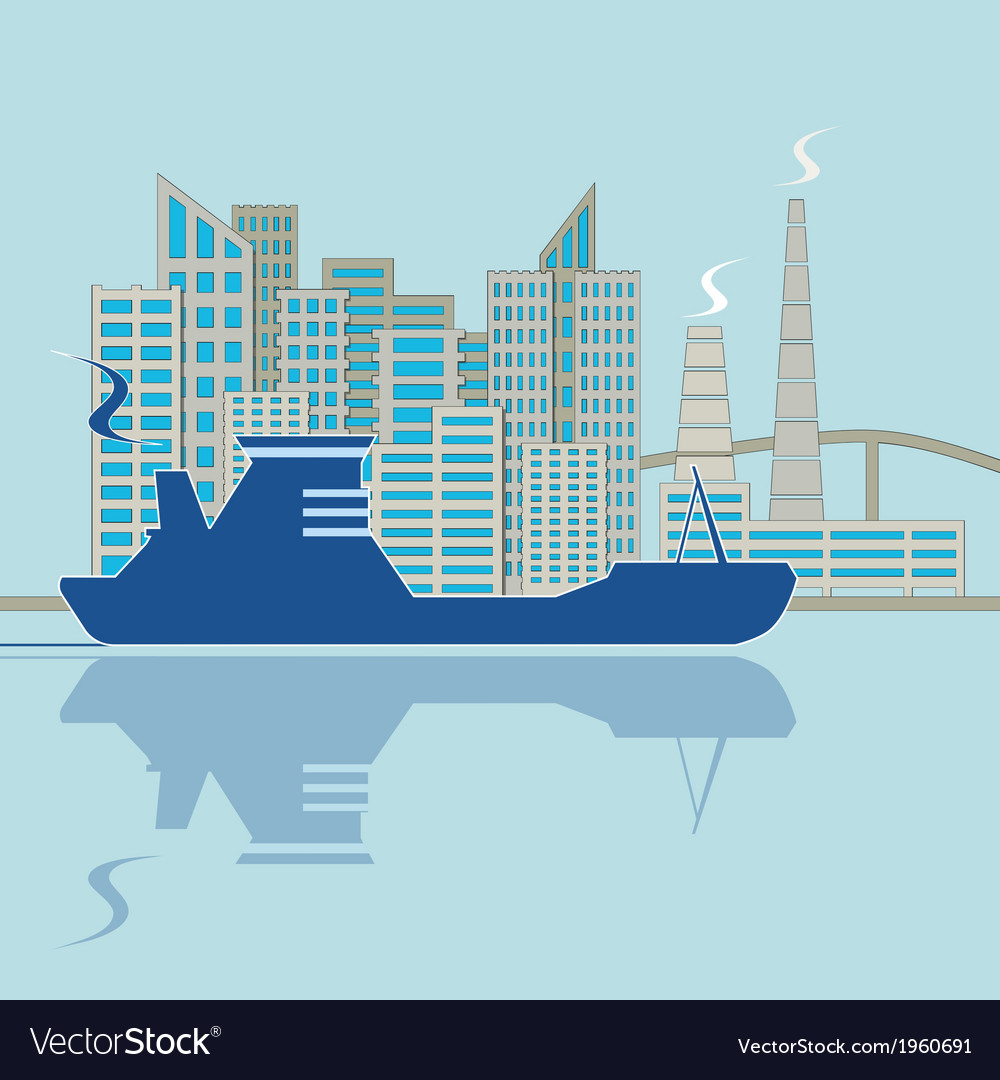 Silhouette of ship on city background vector | Price: 1 Credit (USD $1)