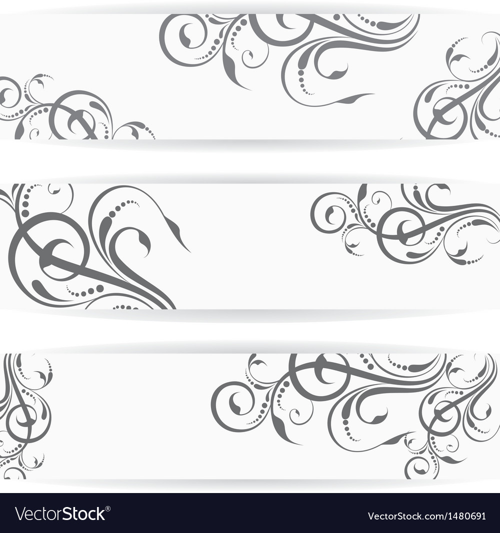 Website header or banner set with beautiful floral vector | Price: 1 Credit (USD $1)