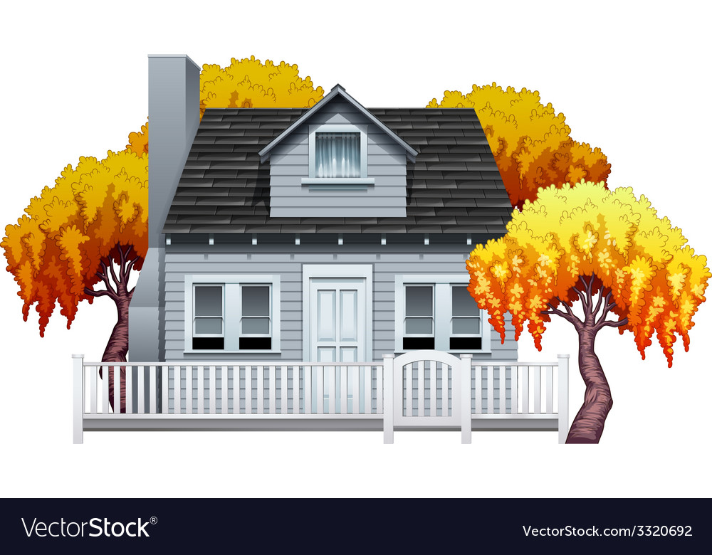 A house with fence vector | Price: 1 Credit (USD $1)