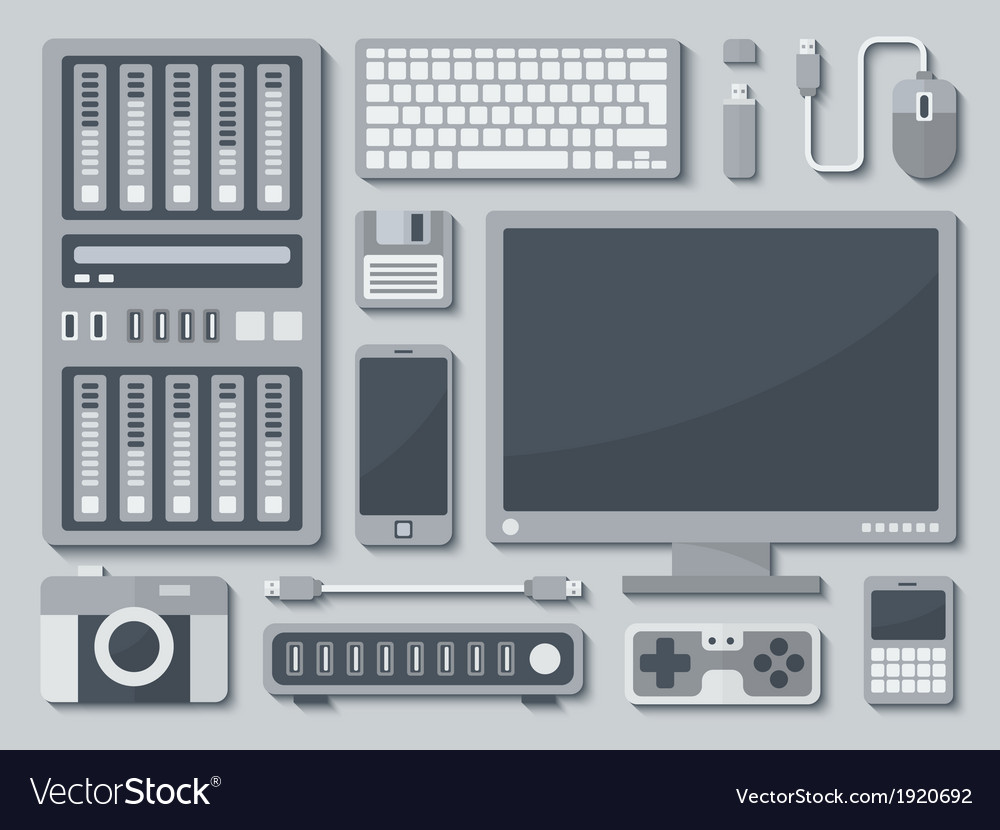 Devices in flat style vector | Price: 1 Credit (USD $1)