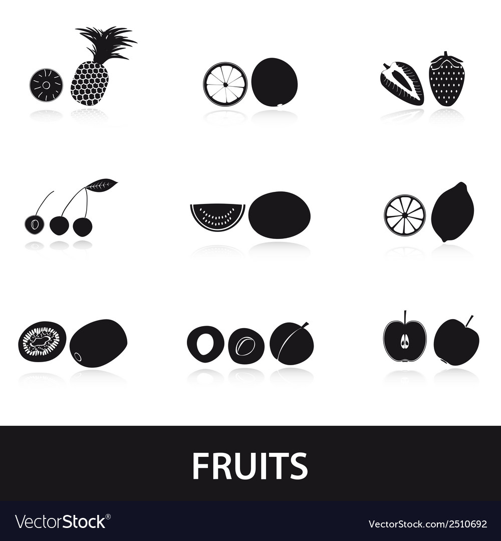 Fruits and half fruits eps10 vector | Price: 1 Credit (USD $1)