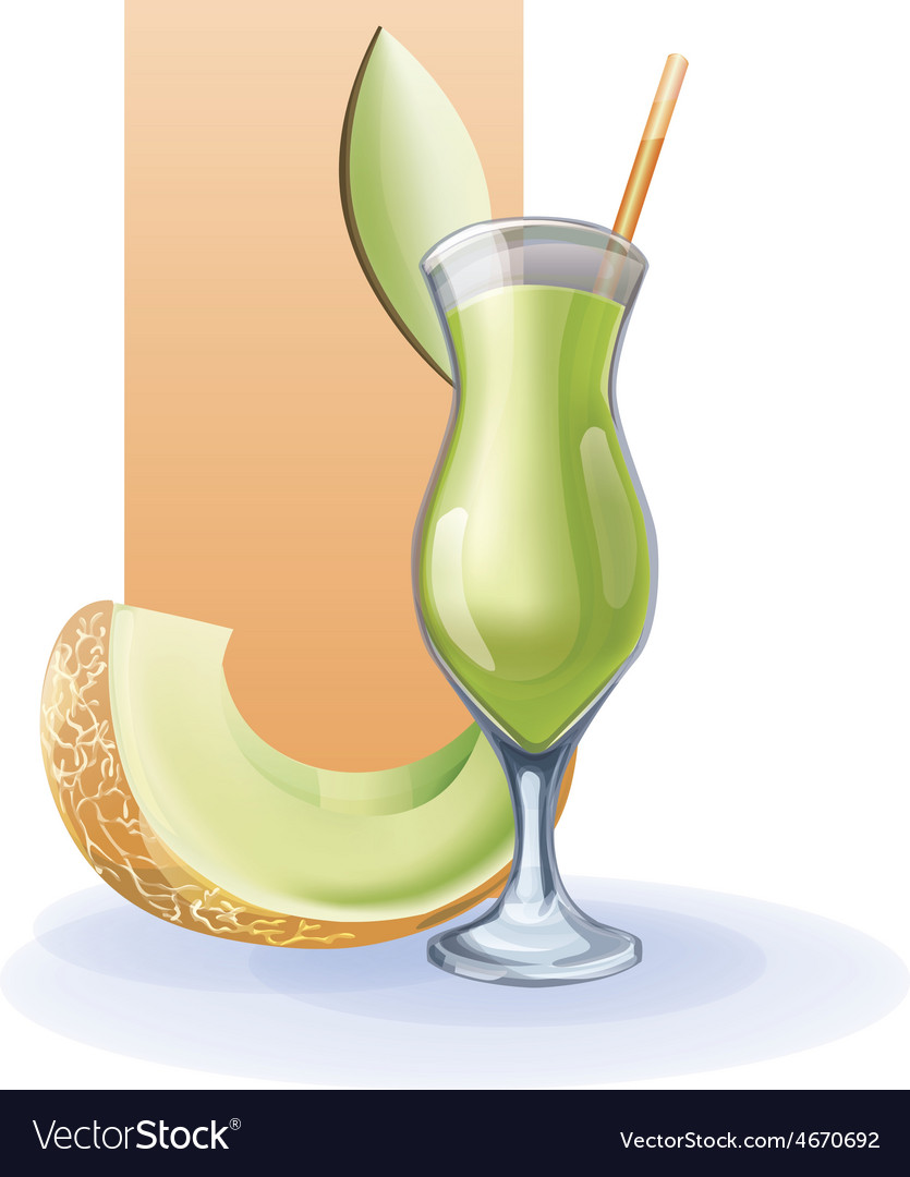 Honey melon goblet of juice cocktail smoothie vector | Price: 1 Credit (USD $1)