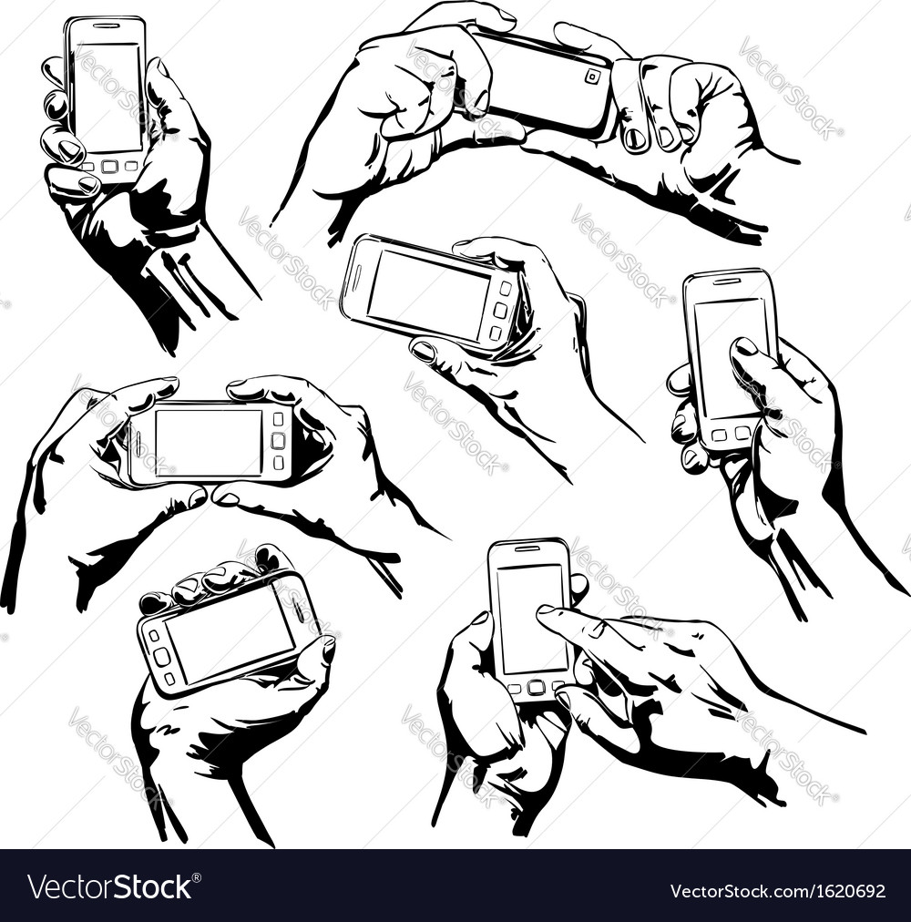 Set hands holding the smart phone vector | Price: 1 Credit (USD $1)