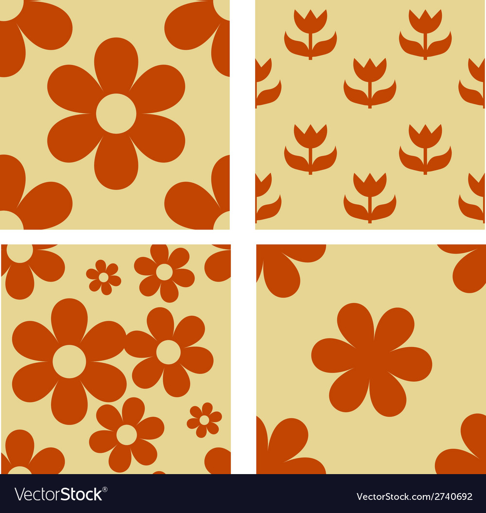 Set of floral seamless patterns vector | Price: 1 Credit (USD $1)