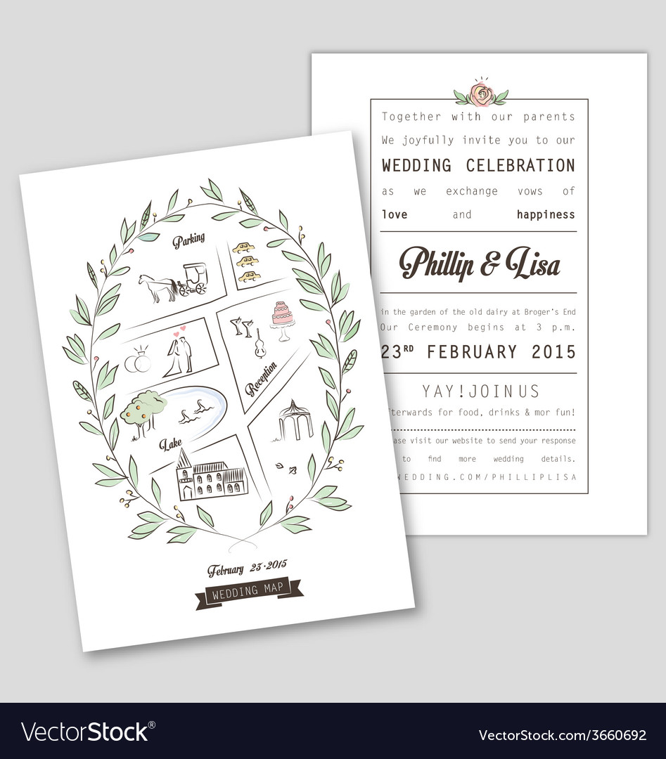 Wedding invitation template with map vector | Price: 1 Credit (USD $1)
