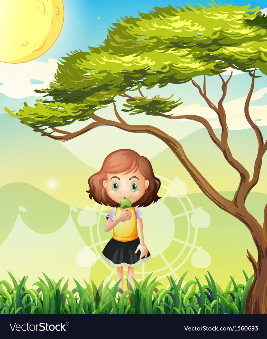 A small girl near the big tree vector | Price: 3 Credit (USD $3)