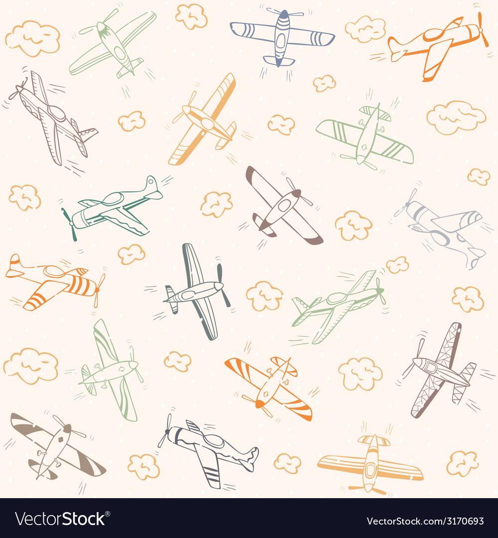 Airplanes pattern color vector | Price: 1 Credit (USD $1)