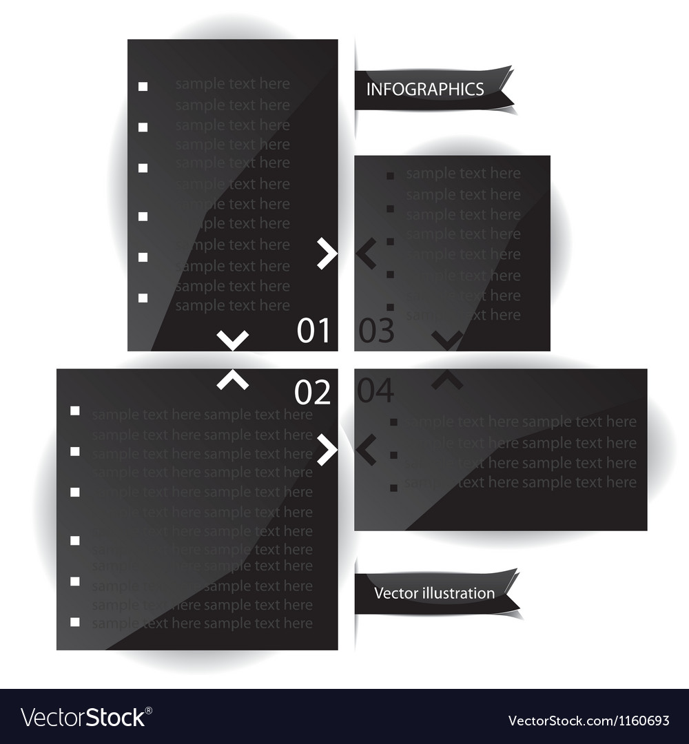 Black glossy panels presentations with numbers vector | Price: 1 Credit (USD $1)