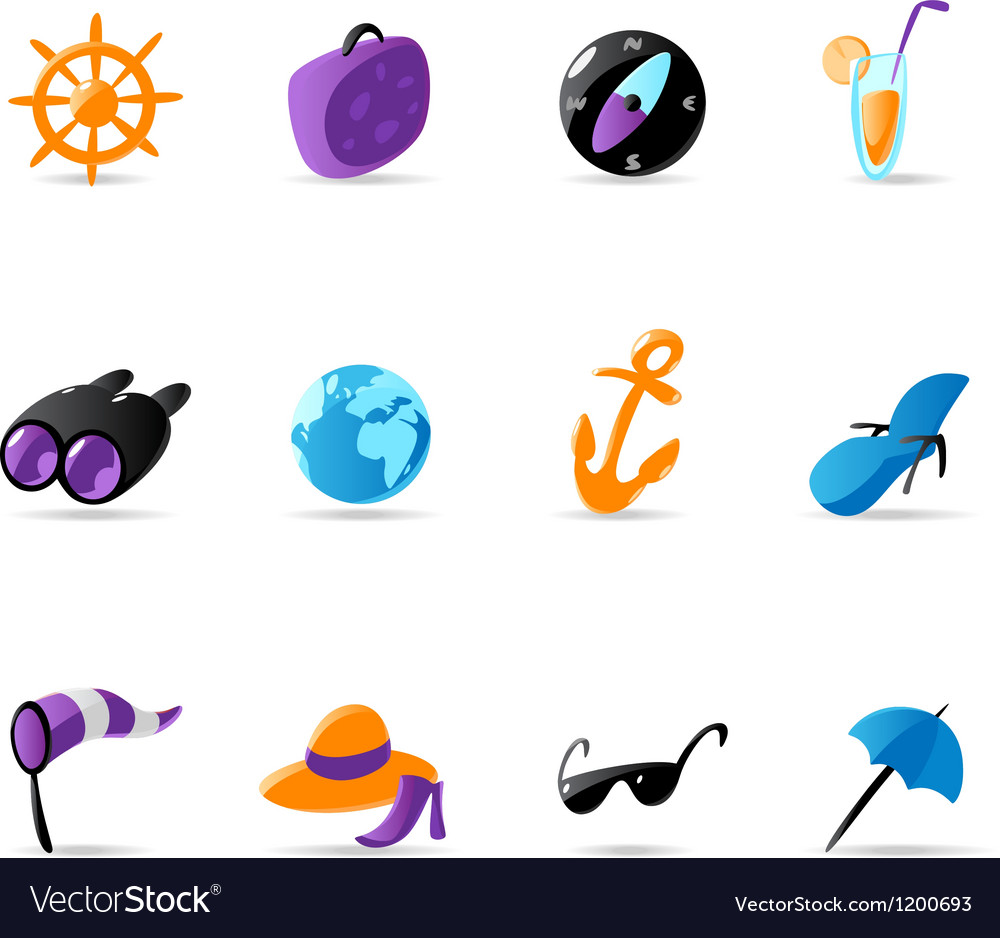 Bright travel and resort icons vector | Price: 1 Credit (USD $1)