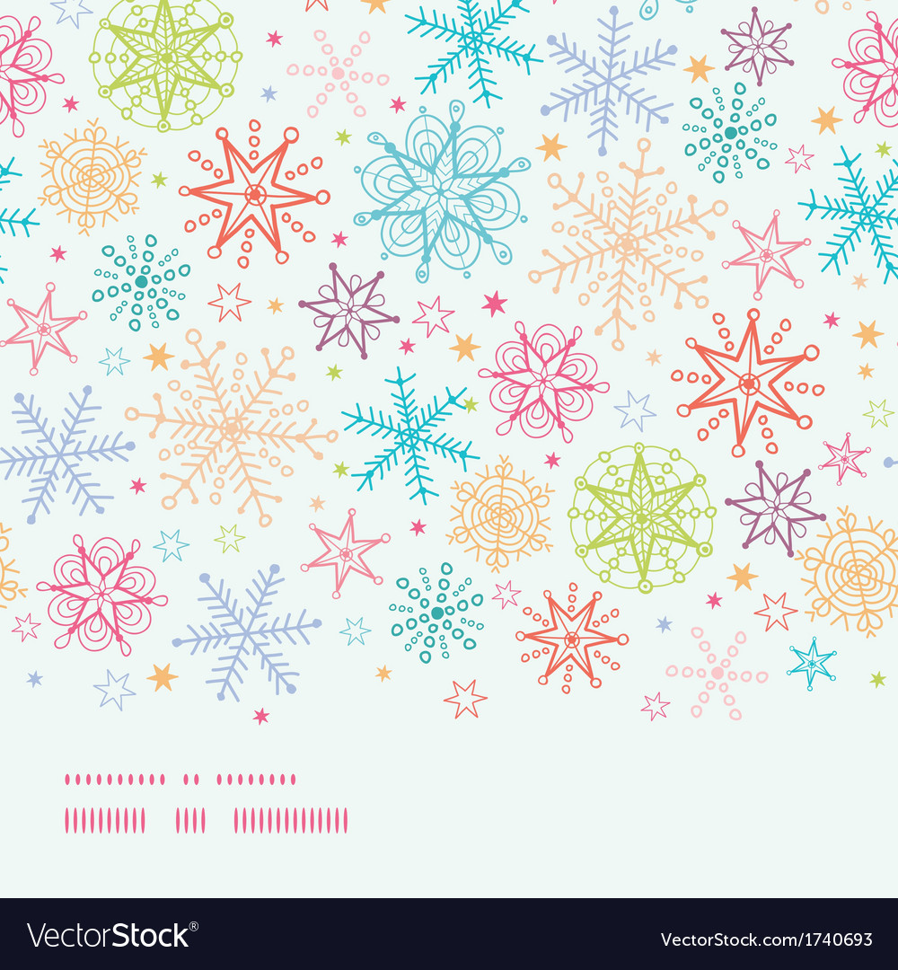 Colorful doodle snowflakes horizontal border vector | Price: 1 Credit (USD $1)