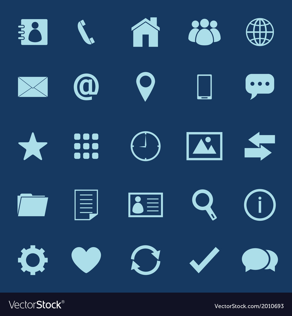 Contact color icons on blue background vector | Price: 1 Credit (USD $1)