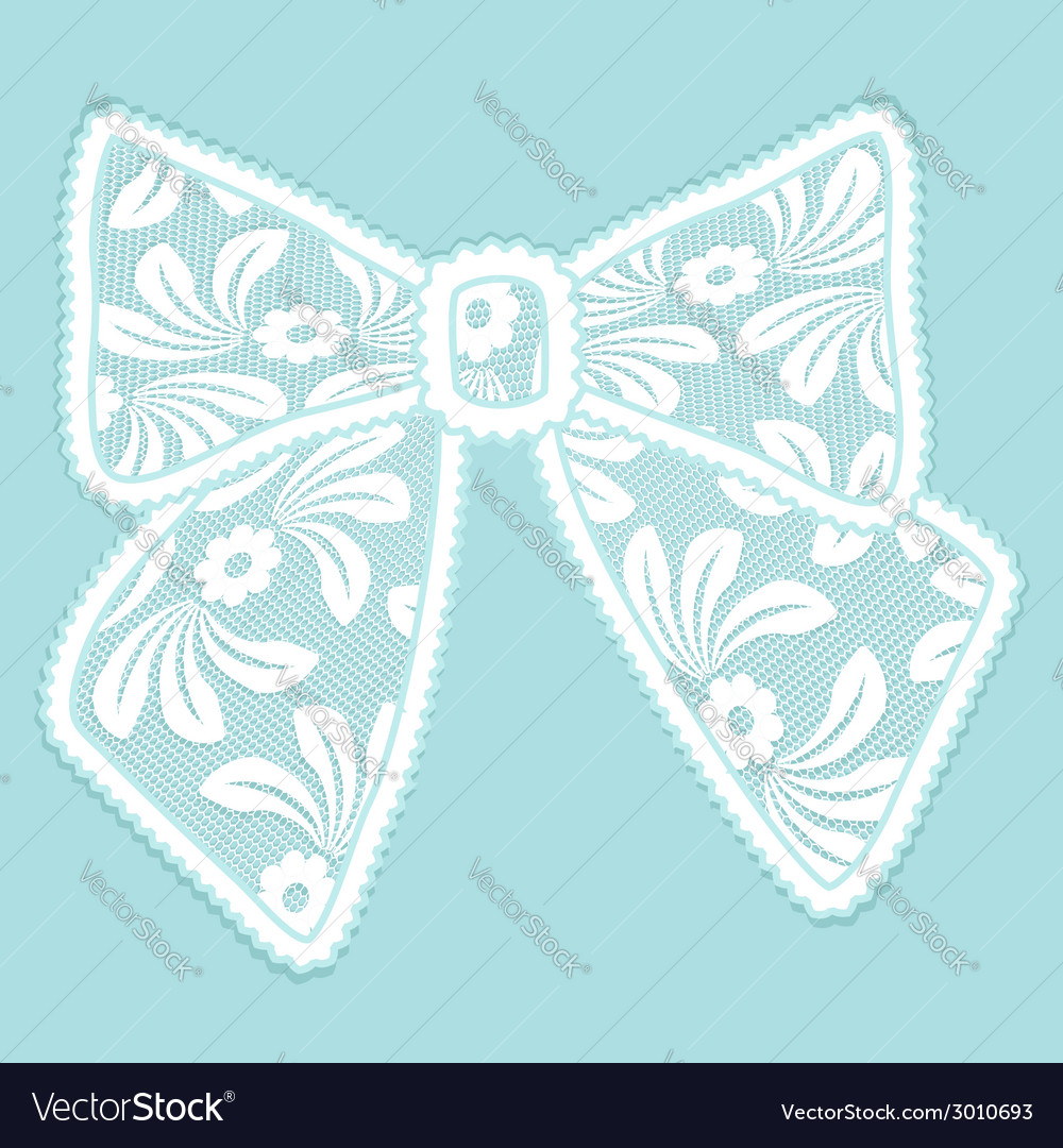 Decorative lacy bow on blue background vector | Price: 1 Credit (USD $1)