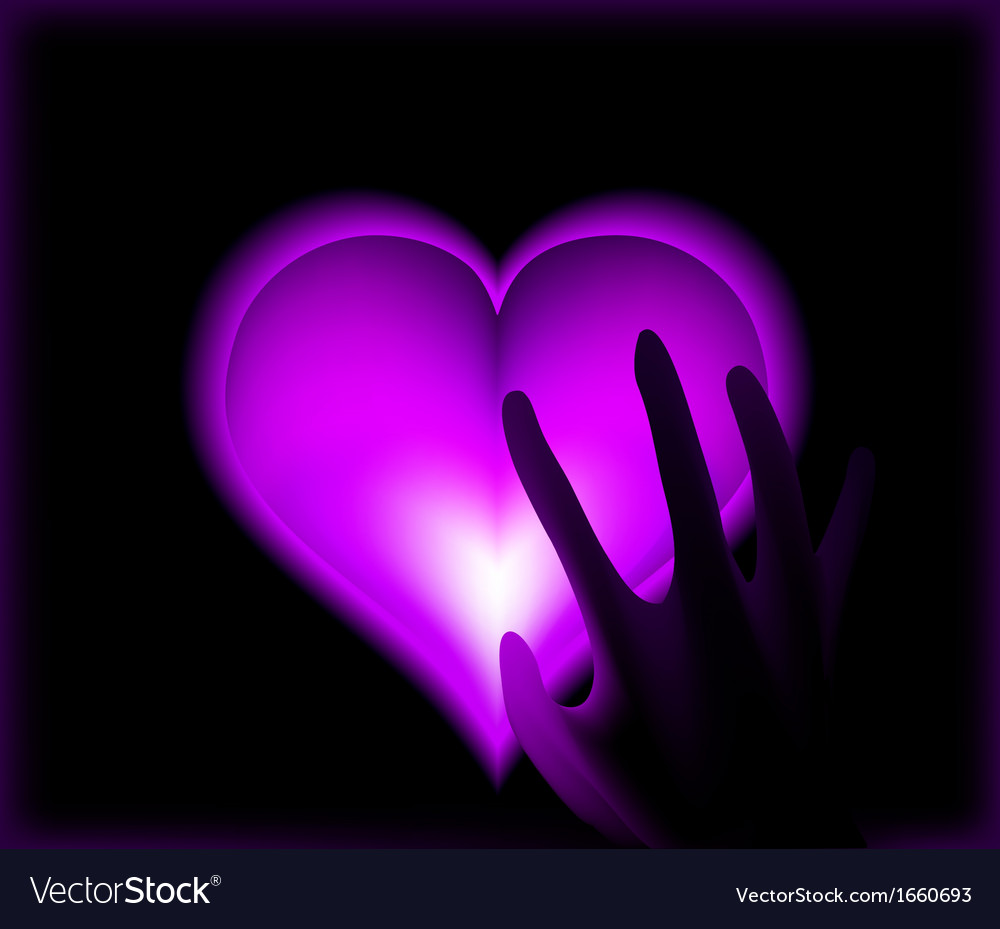 Hand in heat from purple heart cold vector | Price: 1 Credit (USD $1)