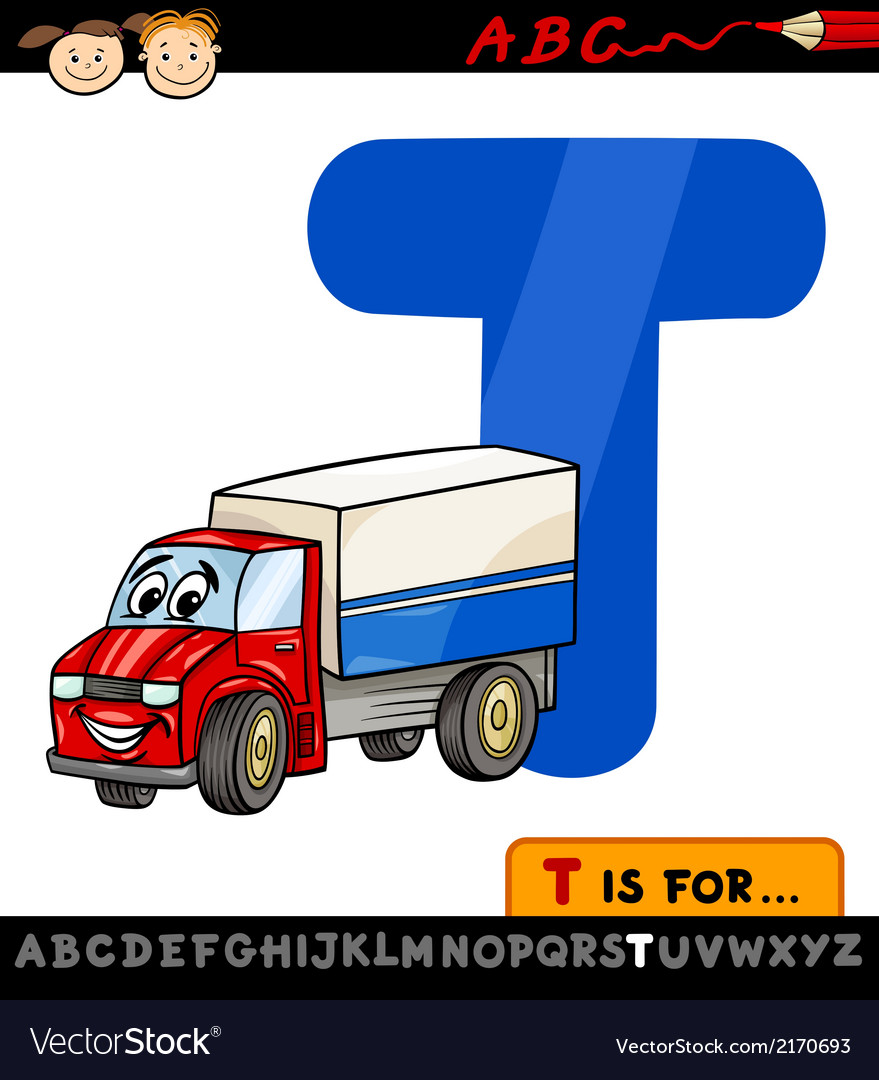 Letter t with truck cartoon vector   Price: 1 Credit (USD $1)