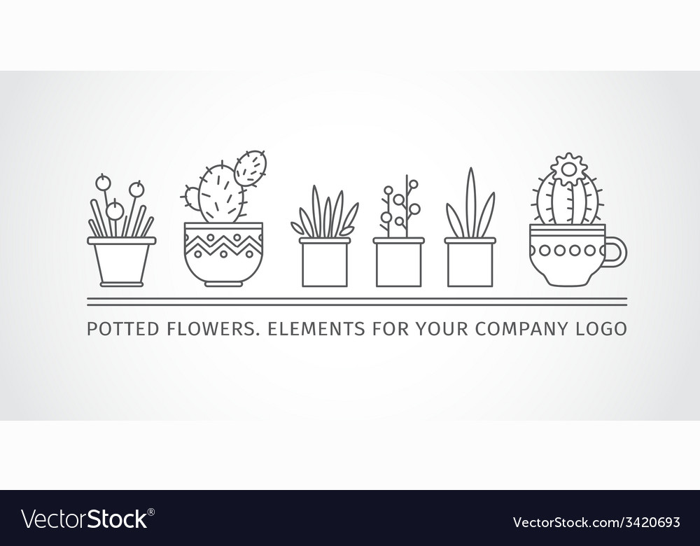 Linear design potted flowers elements of a vector | Price: 1 Credit (USD $1)