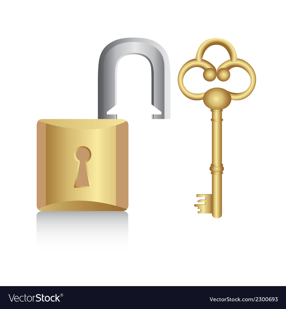 Old golden key with gold lock isolated on white ba vector | Price: 1 Credit (USD $1)