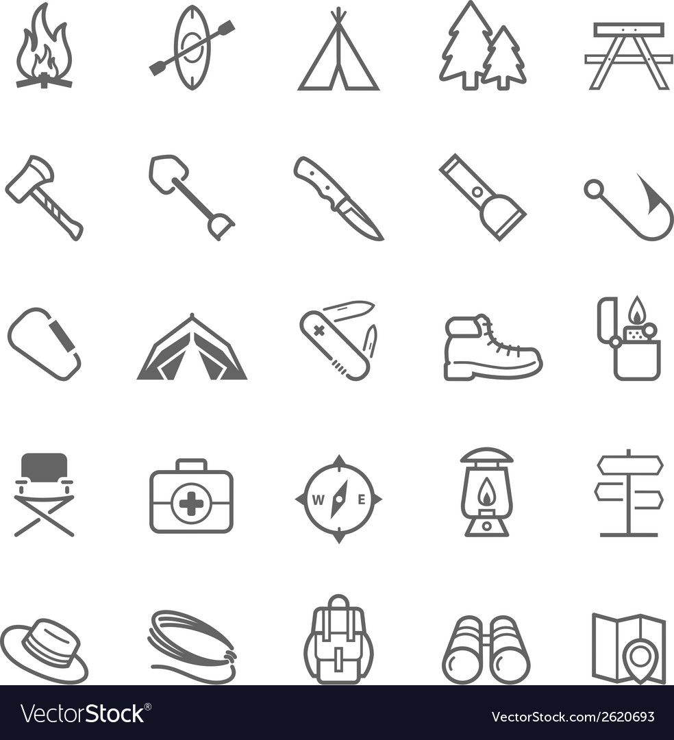 Set of outline stroke camping icons vector | Price: 1 Credit (USD $1)