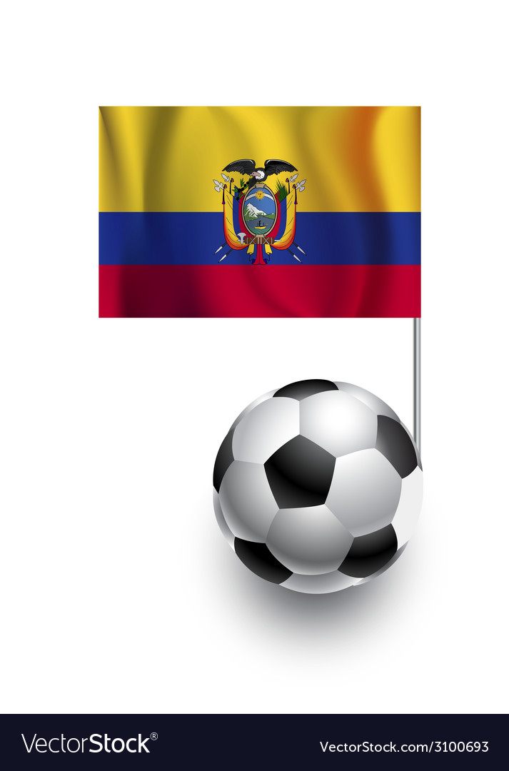 Soccer balls or footballs with flag of ecuador vector | Price: 1 Credit (USD $1)