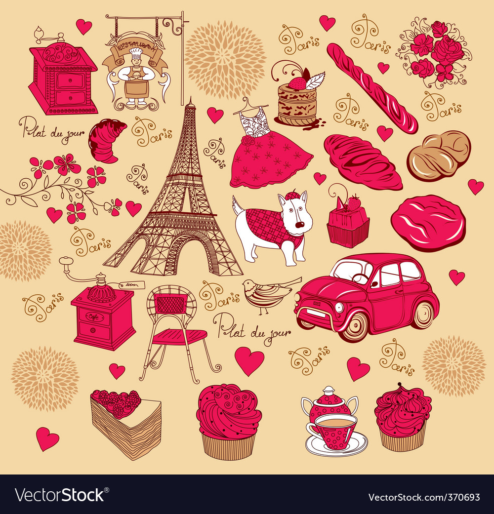 Symbols of paris hand drawing vector | Price: 1 Credit (USD $1)