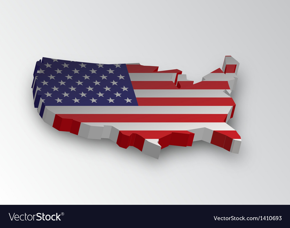 Three dimensional map of american in flag colors vector | Price: 1 Credit (USD $1)