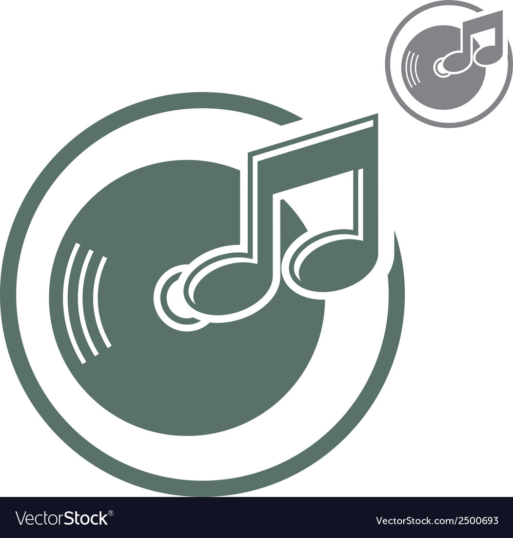 Vinyl icon isolated single color music theme symb vector | Price: 1 Credit (USD $1)
