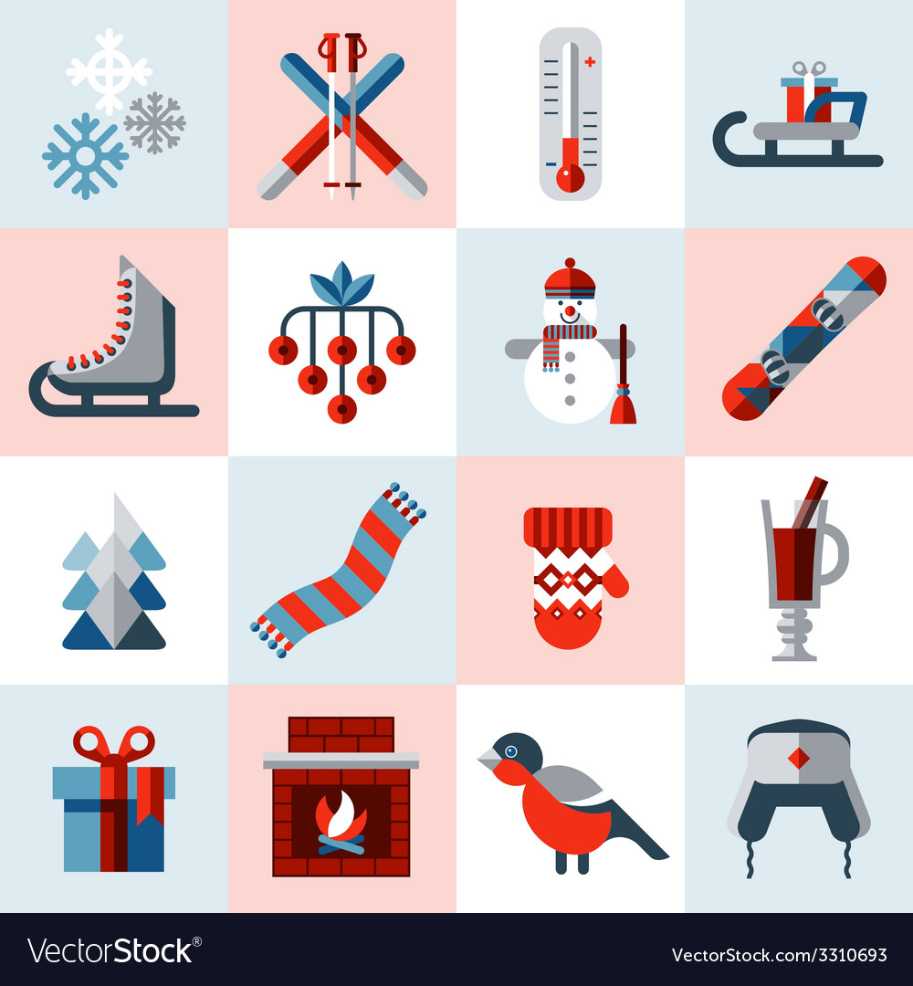 Winter icons set vector | Price: 1 Credit (USD $1)