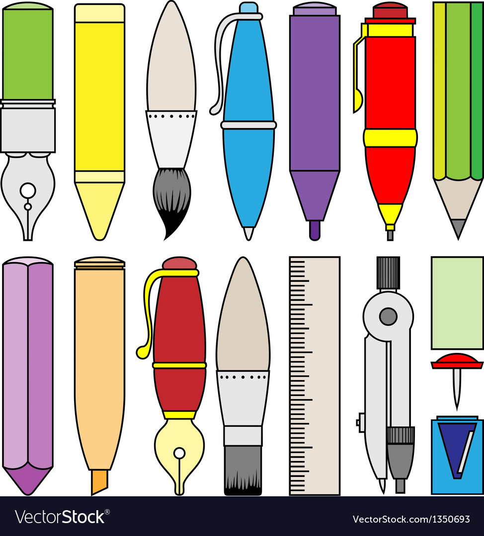 Writing drawing and painting tools and accessory vector | Price: 1 Credit (USD $1)