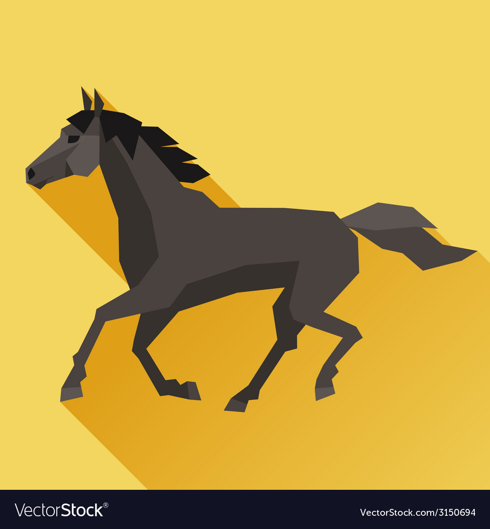 Background with horse running in flat style vector | Price: 1 Credit (USD $1)