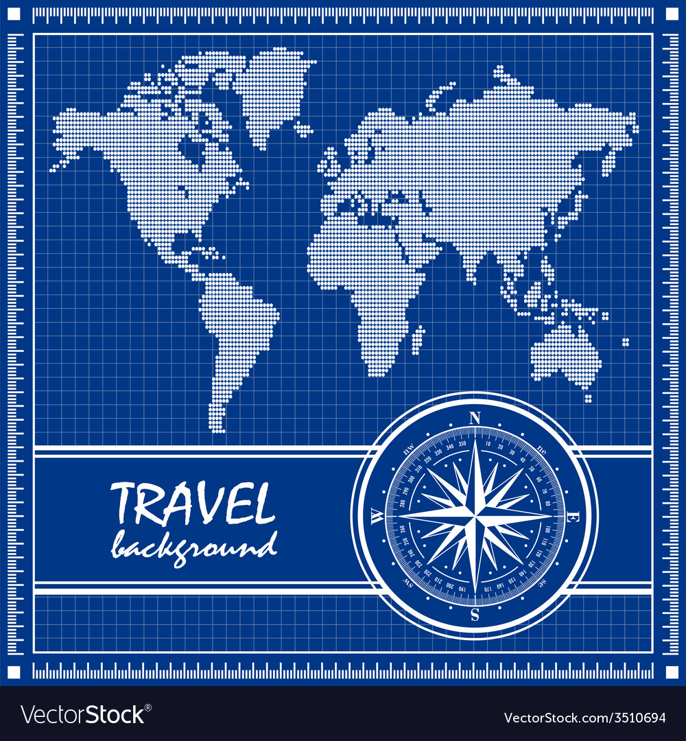 Blue travel background with dotted world map and vector | Price: 1 Credit (USD $1)