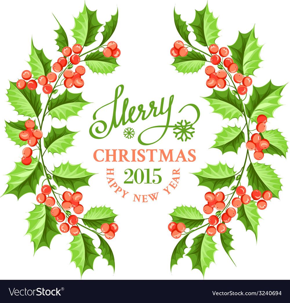 Christmas mistletoe branch frame vector | Price: 1 Credit (USD $1)