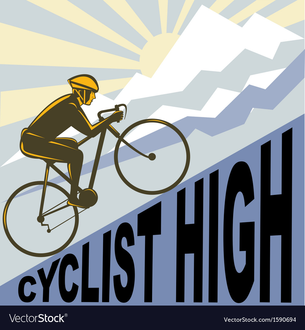 Cyclist racing bike up steep mountain vector | Price: 1 Credit (USD $1)