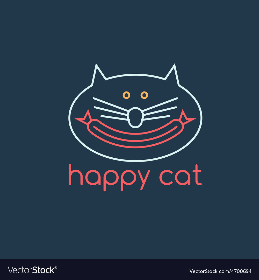 Happy cat with sausage design template vector   Price: 1 Credit (USD $1)
