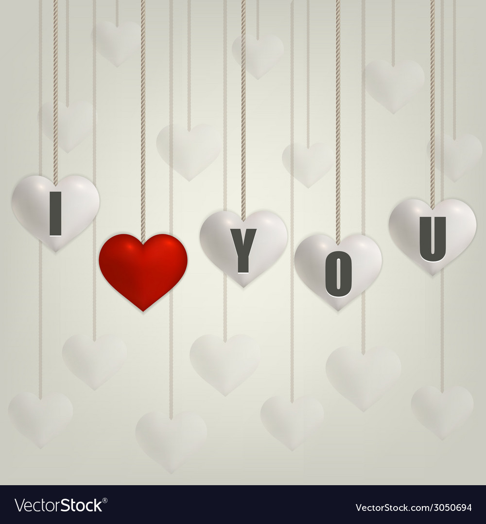 Heart valentines day card with hearts on rope vector | Price: 1 Credit (USD $1)